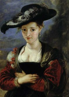 Peter Paul Rubens - Portrait of Susanna Fourment . Rubens' charming 2nd wife shows a bit of high corseted cleavage. In fact no respectable woman would appear in public dressed like this.The only parts of the anatomy customarily on display were the hands and face.
