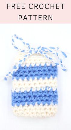 Looking for a cute soap cozy crochet pattern? Try these cute striped soap saver crochet pattern here. Quick Crochet Patterns, Easy Crochet Projects, Beginner Crochet, Crochet For Beginners, Knitting Patterns, Crochet Tutorials, Crochet Ideas, Single Crochet Stitch, Knit Or Crochet