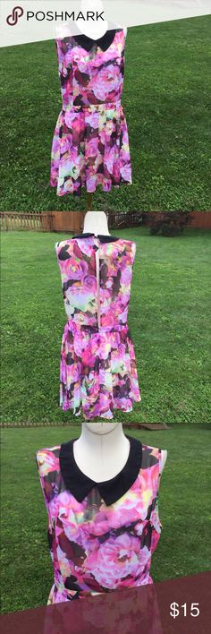 "Aeropostale Pretty Little Liars Dress Floral Sz L Good clean condition.  Peek a boo Black ,  flowing fabric.  Bust up to 40"". Aeropostle Dresses"