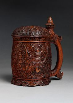 * Acanthus Carved Tankard With Domed Lid and Acorn Form Finial Vigorously Carved and Well Patinated Birchwood Norwegian, c.1820.