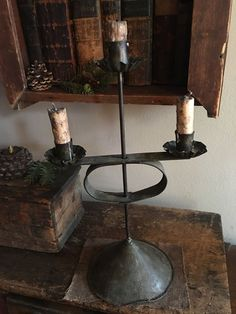 Beautiful Early Original Tin Candle Holder Tin Candle Holders, Rustic Lighting, Primitive Lighting, Primitive Lamps, Candles, Candle Glow, Primitive Decorating Country, Primitive Dining Rooms, Colonial Lighting