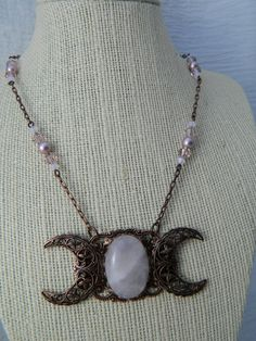 ATHENA Triple Moon Goddess Necklace by Crow Haven Road. $45.00, via Etsy.