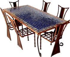 Oh...beautiful patio set...mosaic blue tile.