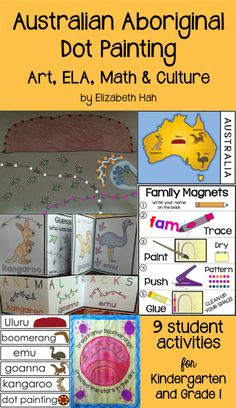 Simple, fun activities to introduce Australian art & animals. Incorporates counting to 100 & writing. US & Australian spelling included. Aboriginal Education, Aboriginal Culture, Art Education, Spelling Activities, Kindergarten Activities, Art Activities, Preschool Ideas, Australian Animals, Australian Art