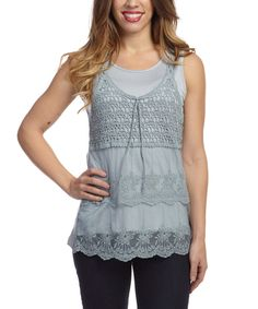 Take a look at this Simply Irresistible Dove Gray Crochet Sleeveless Top on zulily today!