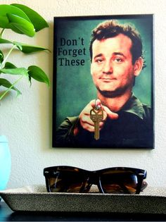 "SALE TODAY ONLY Key Holder BiLL MuRRAY Key Holder and Wood Mounted Wall Art. ""5.5 x 8"". ""Don't Forget These"" . Bill Murray Gifts"