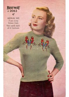 Bestway Knitting Pattern for a Stunning Fair Isle Jumper with Love Birds - Parrot Sweater - Vintage Knitting Knitting Terms, Sweater Knitting Patterns, Free Knitting, Vintage Jumper, Vintage Sweaters, 1940s Fashion, Vintage Fashion, Fashion Models, Fair Isles