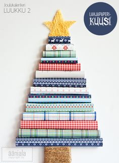 Wrapping paper Christmas tree Christmas Calendar, Advent Calendar, Christmas Diy, Christmas Trees, Alternative Christmas Tree, Snowman, Recycling, Wraps, Crafty