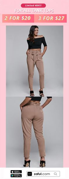 ZAFUL 4th Anniversary Special Sale !72H Limited!!!High Waisted Belted Narrow Feet Pants,APP Enjoy More Discount!,,More surprises waiting for you at ZAFUL~~