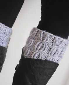 Hand Knit Cabled Boot Cuff in grey slate by SweetAndSaltyKnits, $20.00