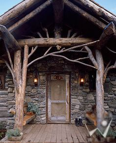wood log beam home entrance