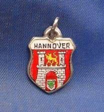 Vintage 800 Silver Enamel Travel Souvenir Shield Charm HANNOVER Germany
