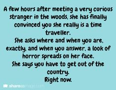 A few hours after meeting a very curious stranger in the woods, she finally convinced you she really is a time traveller...
