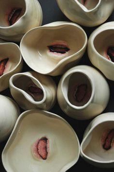 Tableware and disturbing ceramic works by artist Ronit Baranga http://www.ronitbaranga.com/