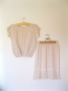 Vintage 60s emboidered skirt blouse set / by TheBlueSkyBoutique