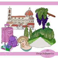 Travel clip art set mediterranean Europe Italy digital