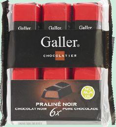 GALLER petits bâtons Praliné noir 6x28gr GALLER chocolat de haute qualité Belge sont de petites barres de chocolat noir fourrées au praliné. www.chockies.net