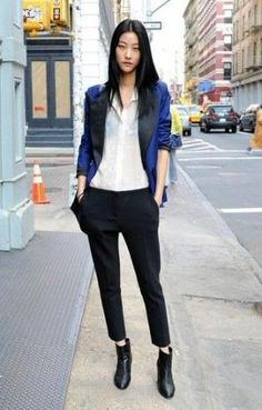 Fashionable and functional, this pairing of a blue silk blazer and black dress pants brings variety. A pair of black leather ankle boots looks fabulous finishing this ensemble. Black Slacks, Black Dress Pants, Dress With Boots, White Blazers, Suit Pants, Black Blouse, Trousers, How To Wear Ankle Boots, Black Ankle Boots