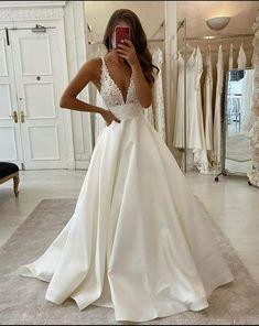 Wedding Dress With Pockets, V Neck Wedding Dress, Cute Wedding Dress, Long Wedding Dresses, Beach Wedding Gowns, Wedding Dress Shapes, A Line Prom Dresses, Satin Wedding Gowns, Lace Wedding