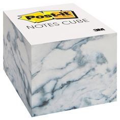 Post-It Notes Cube, - Marble, White - sorority room - Post-it® Notes Cube in 3 in x 3 in size bring style and convenience to your space. Cute Office Supplies, Back To School Supplies, Desk Supplies, Paper Supplies, Middle School Lockers, School Suplies, Locker Decorations, School Stationery, School Essentials