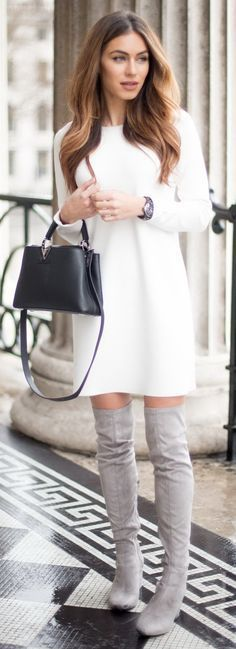 get the look of this outfit for less! winter white sweater dress