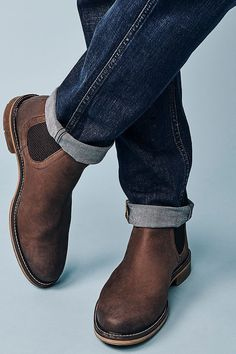 Brown Chelsea Boots Outfit, Leather Chelsea Boots, Boots And Jeans Men, Worker Boots, Man Dressing Style, Mens Boots Fashion, Crew Clothing, Desert Boots, Shoe Boots
