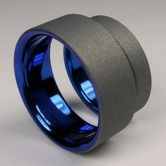 Cobalt blue and gray Titanium wedding band set by ZoeAndDoyle