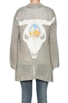 Thin lightweight with a slight bell sleeve. Bull design on the back adds a little edge to the cardigan. Easy Ojai Cardigan by Show Me Your Mumu. Clothing - Sweaters - Cardigans New York City