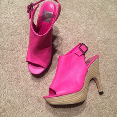 [Dolce Vita] Hot Pink Heels Brand: Dolce Vita Size: 6 Fits like: true 6 Wear: 8/10  Worn a few times but leather is in perfect condition. These are SO FUN. Slight platform, slight wedge, slight heel. Easy to walk in! Dolce Vita Shoes Heels