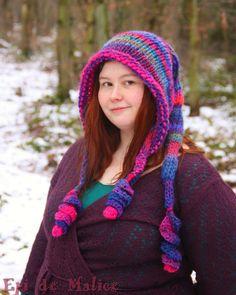 Capuche lutine, long bonnet de lutin, bleu, rose, mauve, violet, multicolore, tricoté main : Chapeau, bonnet par epi-de-malice