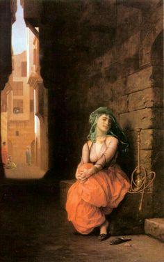 Jean-Leon Gerome/Arab girl with waterpipe, 1873