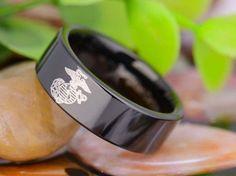 USMC Tungsten Wedding Ring Engraved with Marines Eagle Globe