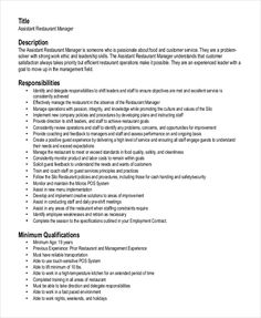 Assistant Restaurant Manager Resume Retail Marketing Manager Resume  Marketing Resume Samples For .