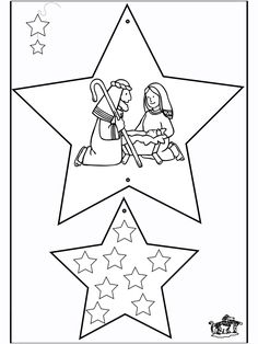 Kerst - Kleurplaten  -nukleuren.nl Preschool Christmas, Christmas Nativity, Christmas Star, Christmas Crafts For Kids, Christmas Colors, Christmas Holidays, Christmas Decorations, Jesus Crafts, Bible Crafts For Kids