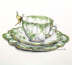 green Shelley teacup set: So pretty and delicate! Lovely for Spring and Summer.