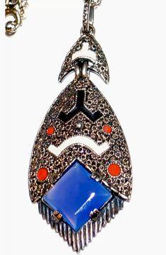 Art Deco Jewelry, Metal Jewelry, Silver Jewelry, Jewelry Design, Bohemia Jewelry, Design Movements, Paris Art, Sterling Silver Pendants, Fashion Art