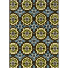 Catalina Blue and Green Outdoor Area Rug (5'3 x 7'6) likin' these Catalina people. For the hookah/dining/living area match up?