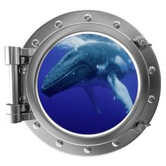 "12"" PortScape Instant Sea Window  Blue Whale Wall Decal Porthole Graphic Sticker #StickitGraphix #Nautical"