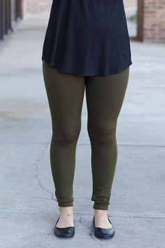 Fleece Leggings- Olive #winter #leggings #cozy #cute