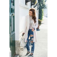 Veronica Ferraro is wearing a white coat and... - Street Style found on Polyvore featuring outerwear, coats and white coat