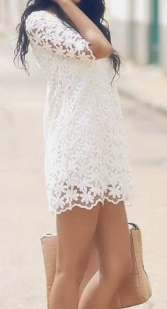 Summer Outfit - White Lace Dress