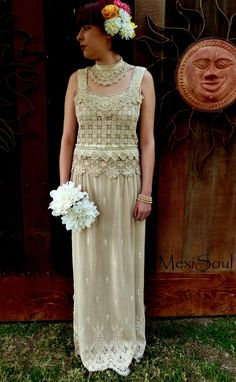 Hand Made Eco Wedding Dress 2-pc Tea Dyed Couture by MexiSoul
