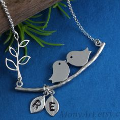 Silver Love Bird Necklace . Bridal shower gift . His by MonyArt, $29.80