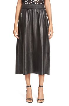 ALEXANDER WANG Ruched Lambskin Leather Skirt. #alexanderwang #cloth #