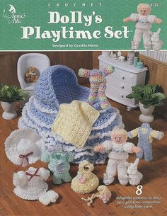 Dolly's Playtime Set, Annie's Attic Crochet Pattern Book For Doll, Clothes…