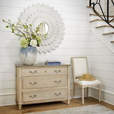 Three spacious drawers offer plently of storage space in this parapet chest. With a whitewashed finish on the outside, gray painted top and interiors, and French handles, this classic piece will look lovely for years to come. Small Round Mirrors, Dentil Moulding, Sunburst Mirror, Table Arrangements, Traditional Furniture, Dresser As Nightstand, Dressers, Shabby Chic Furniture, Storage Spaces