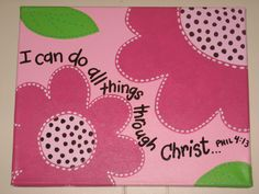 Flowers and bible verse canvas