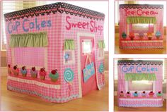 "Make a ""play house"" using fabric and a card table (or big enough for your kitchen/dining table) . . . this is a great site for inspiration and patterns.  Try this Sweet Shop or go with a fire house, castle, circus tent, fairy hideaway, Pirate ship or any other theme you can think of.  Fold the ""Table cloth"" and store when you're done playing for the day."