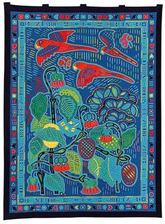 Fumiko Nakayama's quilt reminds me of molas Beach Blanket Babylon, Japanese Quilts, Reverse Applique, Bird Quilt, Hawaiian Quilts, Blanket Yarn, Cotton Quilts, Applique Quilts, Textiles