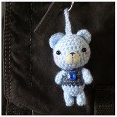 Items similar to Bo blue button bear bag charm on Etsy Crochet Keychain, Wool Fabric, Crochet Animals, Awesome Stuff, Bunny, Charmed, Bear, Button, Knitting